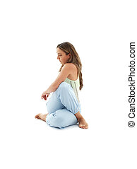 ardha matsyendrasana half lord of the fishes pose over white