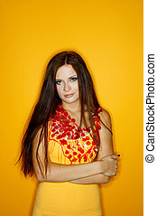 Woman of Colours - Portrait of Young woman isolated on...