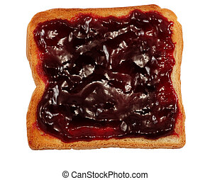 Toast with Jam - Toast with jam isolated over white...