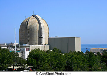 Nuclear power plant by the sea in Vandellos (Tarragona,...