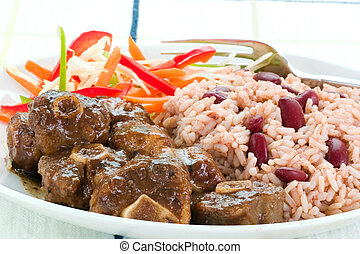 Oxtail Curry with Rice - Caribbean Style - Caribbean style...