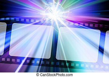 Filmstrip Star Burst Cool Hues Black Background