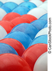 Balloons - Shot of several balloons, red, blue, and white...
