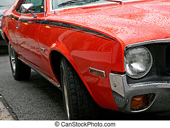 Classic Muscle Car - Closeup view of a classic high...