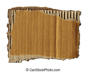 Old Cardboard Scrap Over White +clipping path for easy...