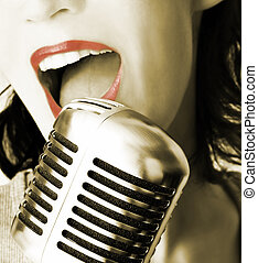 Retro Singer - Girl Singing In Retro Microphone