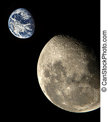 Moon and Earth - Moon from outer space Earth on the...