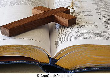 Religion I - Wood cross on a page of the bible