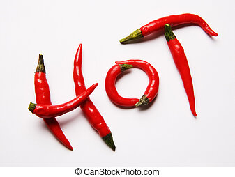 Red hot chilli peppers spelling the word hot