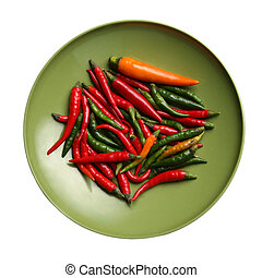 Red hot chilli peppers - Hot pepper on a green background