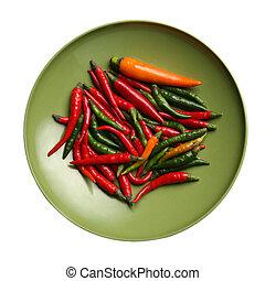 vermelho, quentes, pimentões, pimentas