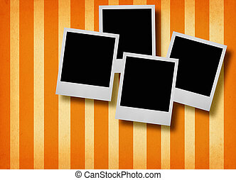 four photo frames - four blank photo frames against retro...