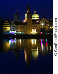 Prague at Night - Towers and Dome at Night, Prague, Czech...