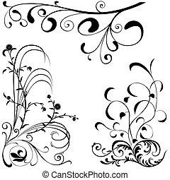 floral, elementos, Un
