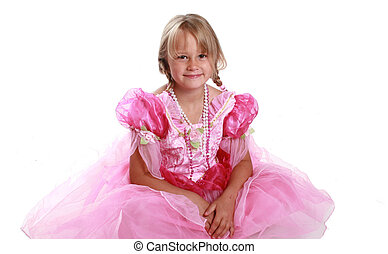 girl in a pink dress - Girl in pink princess dress.