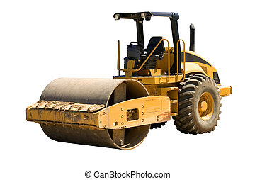 Roller Isolated - This is a large highway construction...