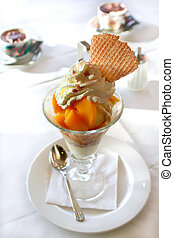 ice dessert - summer ice dessert with peach