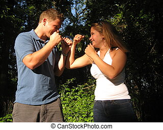 Evening Boxers - Couple boxing outdoors in the evening sun