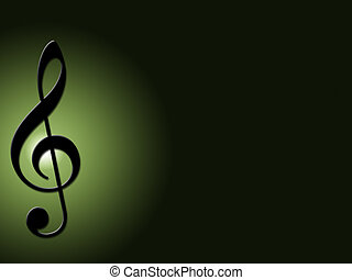 Treble Clef - Black Treble Clef on a dark green background.
