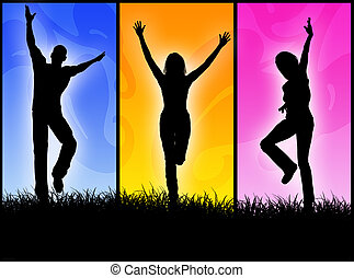 Happy people - A people group jumping for happiness in a...
