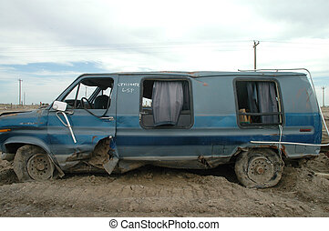 Hurricane Katrina - A severely damaged van left over from...