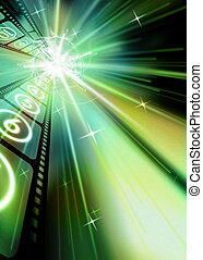 Filmstrip Sparkling Starburst Green Hue Black Background