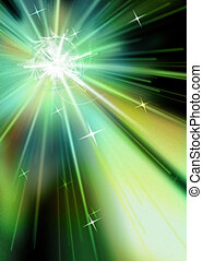 Star Burst - Intense Radiating Starburst Green Hues on Black...