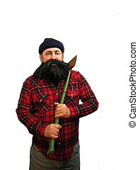 Lumberjack - A bearded lumberjack out looking for trees to...