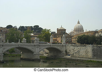 view of vatican from tiber river - vatican view from tiber...