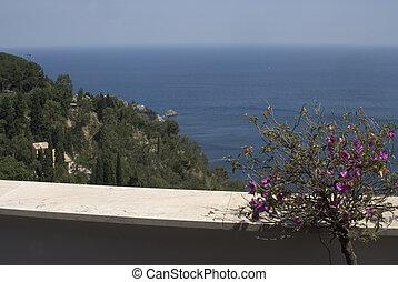 view from villa over sea taormina italy - tyrrhenian sea...