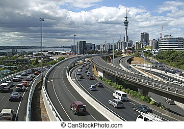 Rush hour - Late afternoon traffic in Auckland, New Zealand;...