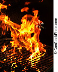 BBQ Grill - Closeup detail of fire in outdoor BBQ charcoal...