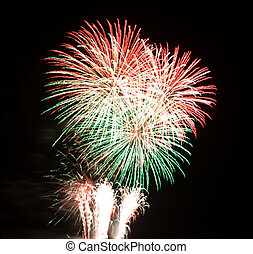 Fireworks (Red-Green) - Red and Green fireworks exploding