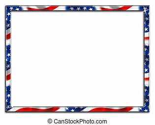 Thin Patriotic Border Frame - red white and blue stars and...