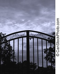 Iron Gate - -- seen against a dark and foreboding sky