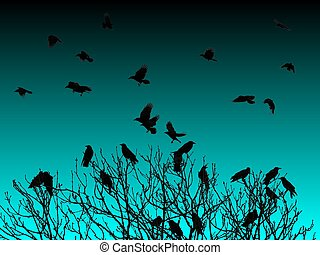 Tree of Crows - Night - Many Crows swarming around a treetop