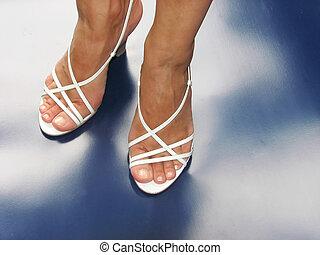 white sandal - sandals on blue background