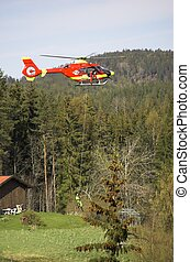 Rescue Chopper Take-Off - A red Norwegian State Air...
