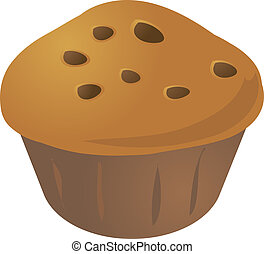 Cupcake muffin - Chocolate chip cupcake muffin. Vector...