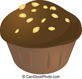 Cupcake muffin - Chocolate nuts cupcake muffin Vector...