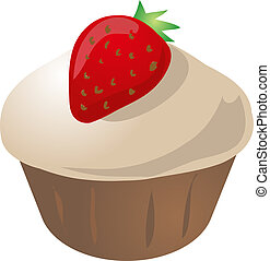 Strawberry cupcake - cupcake muffin. Vector isometric...