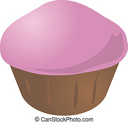 Cupcake muffin - Pink icing cupcake muffin. Vector isometric...