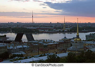 Dawn above Saint-Petersburg - Survey from the height of bird...