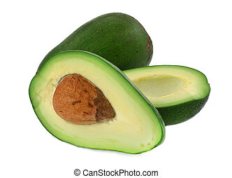 cut avocado #4 - close-up of cut avocado fruit isolated on...