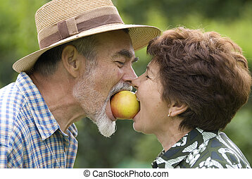 romantic senior couple - Happy elderly couple