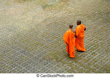 Buddhist Monks - Row of Buddhist monks