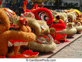 Lion dance head - A row of lion dance heads