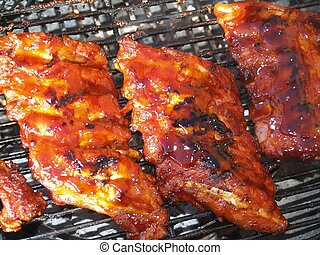 Ribs 1 - BBQ ribs on griddle