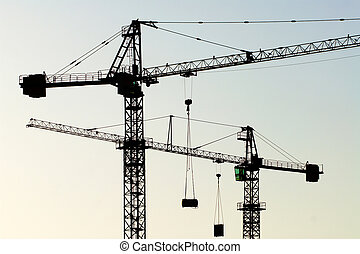cranes horizontal - two cranes sikhouetted against evening...