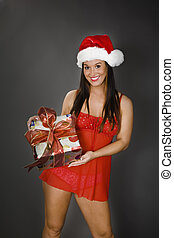 Sexy Santa 386 - A beautiful caucasian woman in sexy Santa...